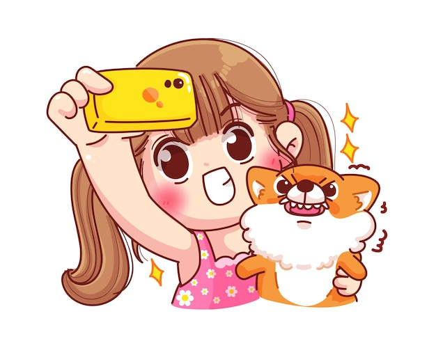 Linda garota fazendo selfie com a ilustração do desenho do cachorro