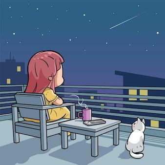 Linda garota fazendo um pedido enquanto olha para a estrela cadente
