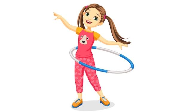 Linda garota feliz com bambolê