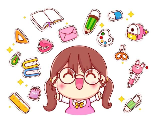 Linda garota feliz com ilustração de personagem de desenho animado de logotipo de papelaria
