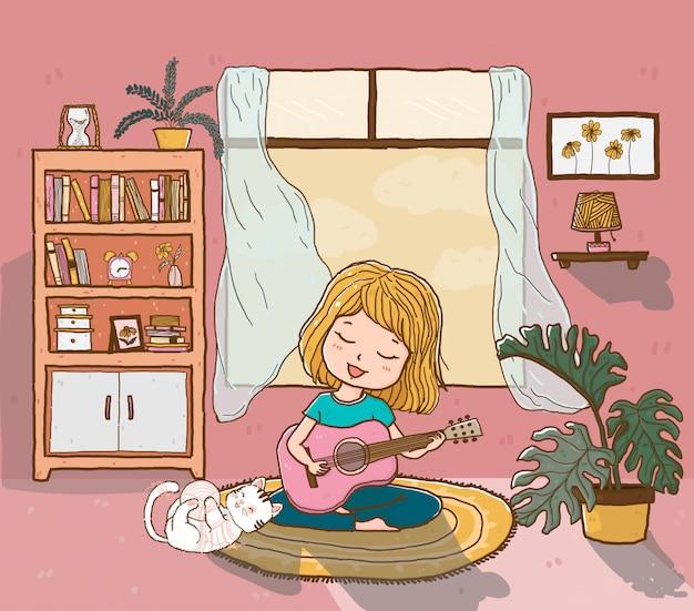 Linda garota feliz toca guitarra com um gato fofo brincalhão na sala de estar iluminada pelo sol, contorno doodle desenho liso
