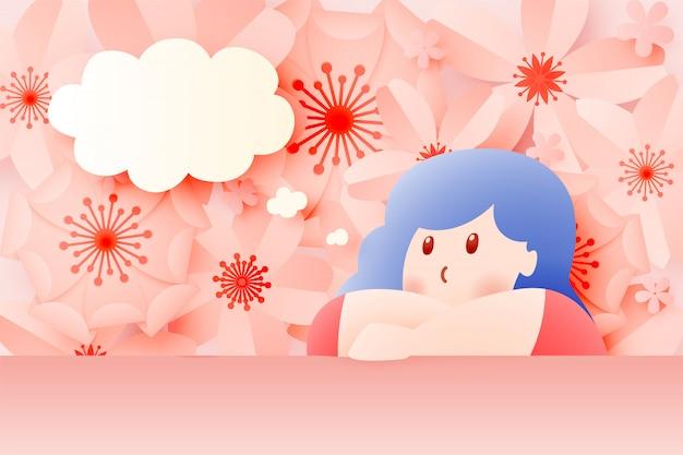 Linda garota ficar em casa com linda flor
