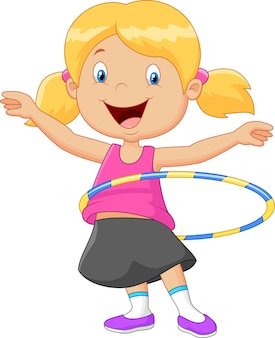 Linda garota girando bambolê