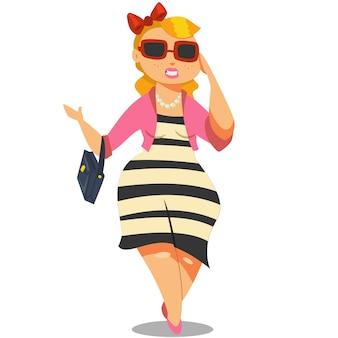 Linda garota gorda em personagem de desenho animado de óculos de sol