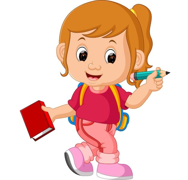 Linda garota ir para a escola