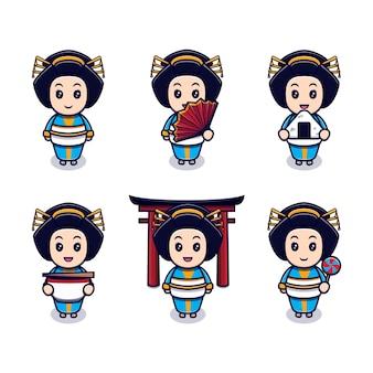 Linda garota japonesa com conjunto de diferentes expressões