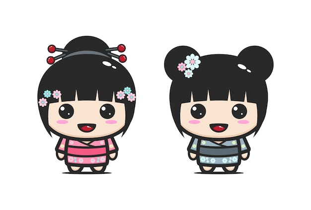 Linda garota japonesa de quimono