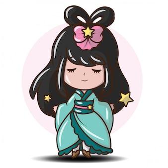 Linda garota japonesa em traje de princesa. desenho de personagem