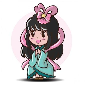 Linda garota japonesa em traje de princesa., personagem de desenho animado