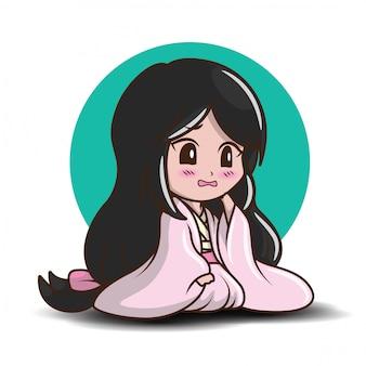 Linda garota japonesa em traje de princesa.
