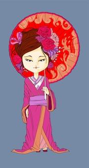 Linda garota japonesa fica de quimono. jovem gueixa com guarda-chuva vermelho hanami sakura flor velho borgonha quimono maquiagem maiko estilo de cabelo tímido japonês na ilustração vetorial festival isolada.