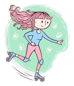 Linda garota jogando ilustração de patins
