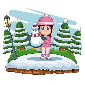 Linda garota jogando no inverno dos desenhos animados