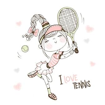 Linda garota jogando tênis. eu amo tênis