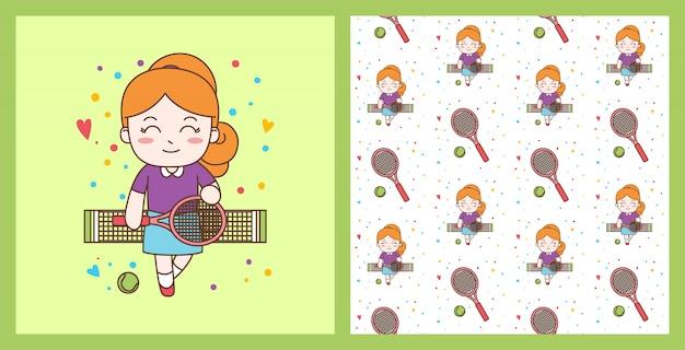 Linda garota jogando tênis ilustração com padrão sem emenda