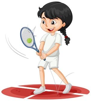 Linda garota jogando tênis personagem de desenho animado isolada