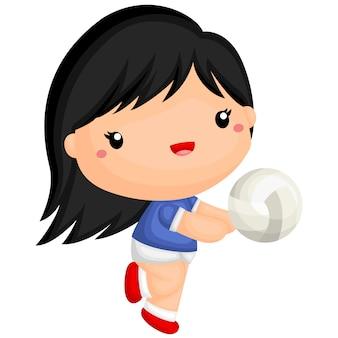Linda garota jogando vôlei