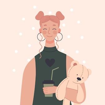 Linda garota jovem com uma xícara de café e um ursinho de pelúcia. bom dia, conceito, amor por café. personagem em estilo simples