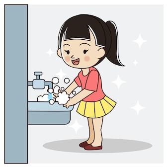 Linda garota lavando as mãos. a salvo de vírus, covid-19