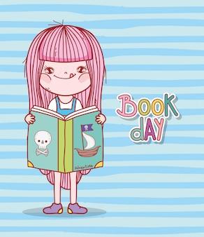 Linda garota lendo livro de piratas dos desenhos animados listras fundo