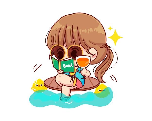 Linda garota lendo um livro na ilustração dos desenhos animados da praia