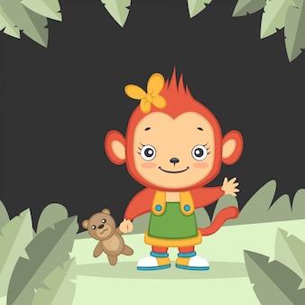 Linda garota macaco segurando um ursinho
