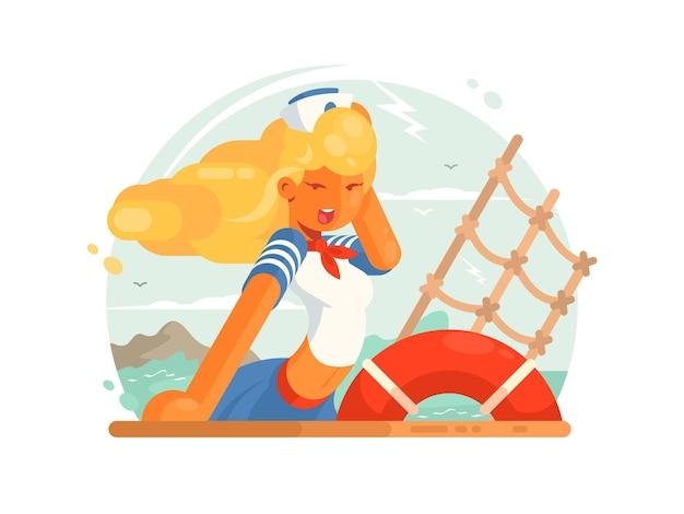 Linda garota marinheiro na tampa do convés do navio