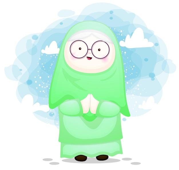 Linda garota muçulmana feliz para ramadhan