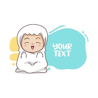 Linda garota muçulmana orar com texto em balão