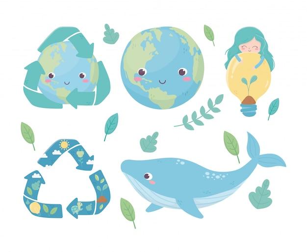 Linda garota mundo baleia bulbo reciclar folhagem ambiente ecologia