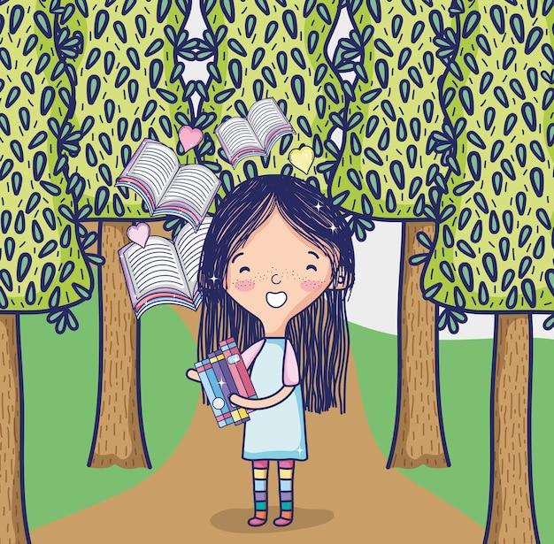 Linda garota na floresta com livros voando dos desenhos animados