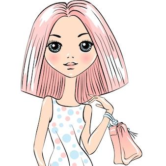Linda garota na moda bonita com sacos.