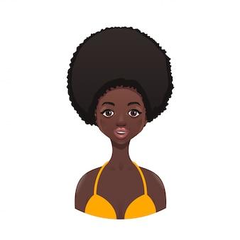 Linda garota negra em um maiô amarelo