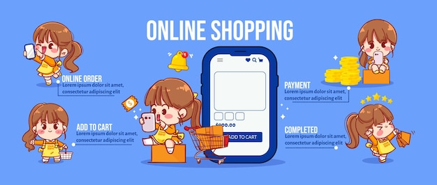 Linda garota no conceito compras on-line infográfico ilustração da arte dos desenhos animados