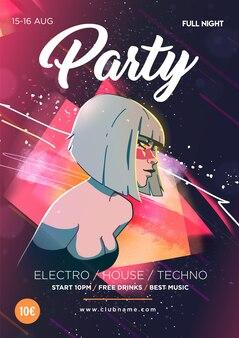 Linda garota no fundo de manchas coloridas abstratas pôster de festa noturna de danceteria