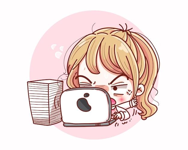 Linda garota ocupada trabalhando com desenho de personagens de desenho animado e cansado.
