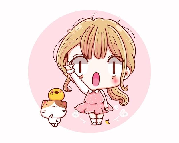 Linda garota olá ou diga olá e desenho de personagens de desenhos animados.