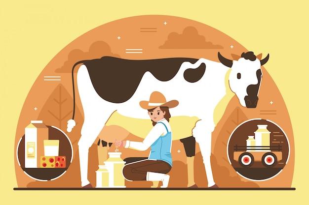 Linda garota ordenhando um conceito de ilustração de vaca Vetor Premium