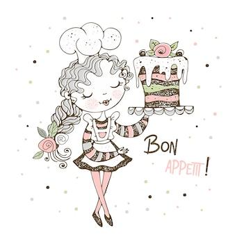 Linda garota pastelaria chef fazendo um bolo