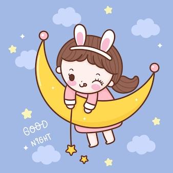 Linda garota pegando uma estrela na lua bebê kawaii