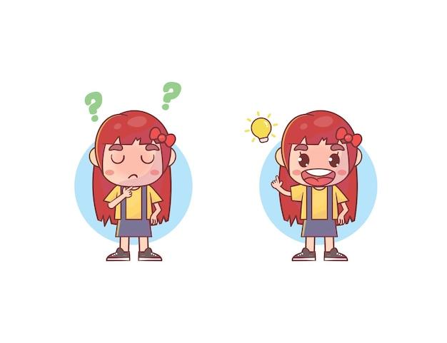Linda garota pensando