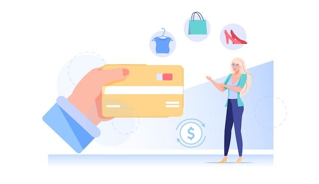 Linda garota plana de desenho animado gasta dinheiro online em compras
