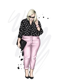 Linda garota plus size com roupas elegantes
