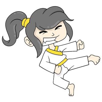Linda garota praticando artes marciais, chutando, arte de ilustração vetorial. imagem de ícone do doodle kawaii.