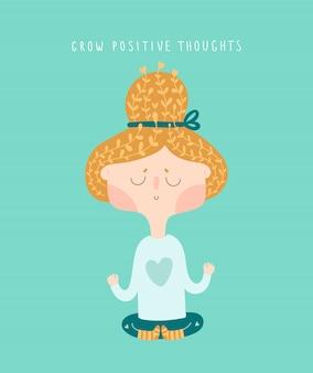 Linda garota praticando ioga e desfrutando de meditação e relaxar