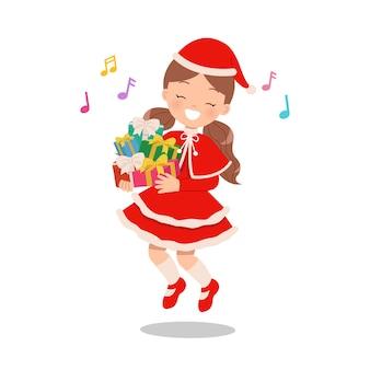 Linda garota pulando enquanto cantava e segurando a pilha de presentes de natal. crianças em trajes de inverno. personagem de desenho animado plana isolada
