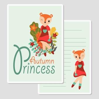 Linda garota raposa com flores para cartão de outono