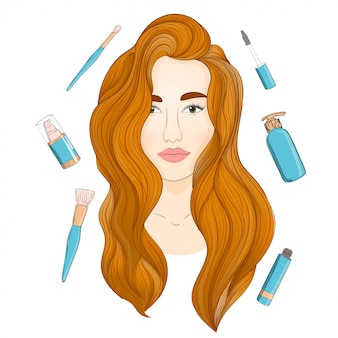 Linda garota ruiva de vetor. cabelo comprido ruivo e produtos de beleza.