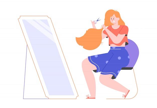 Linda garota ruiva faz um corte de cabelo diy em casa. senta-se na frente de um espelho com uma tesoura. cuidados com o cabelo autônomo em quarentena. ilustração plana.
