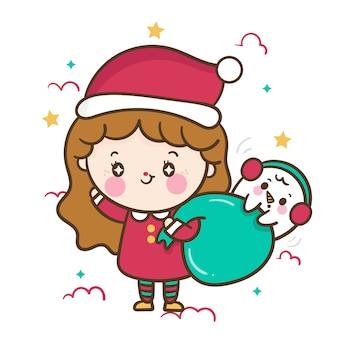 Linda garota santa dos desenhos animados com boneco de neve